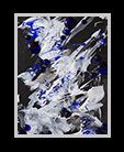 abstract mixed media piece in blues, white, and black