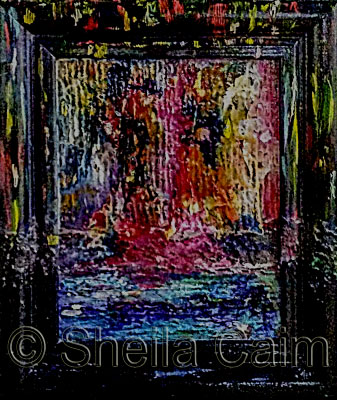 An abstract expressionist mixed media image
